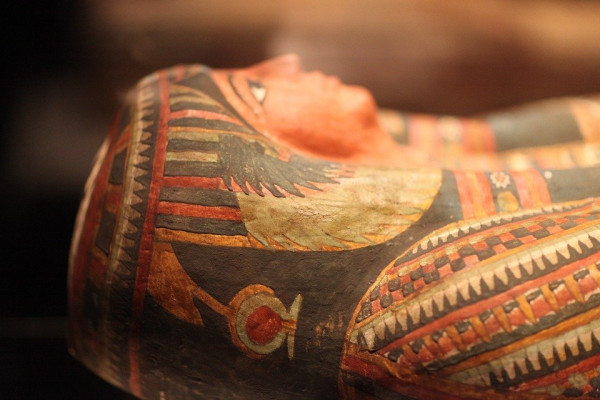 The head of an Egyptian sarcophagus.