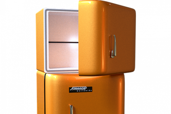 Orange freezer-fridge with the upper freezer door half open