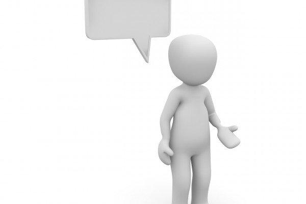 A cartoon genderless CGI figure with a blank speech bubble above their head