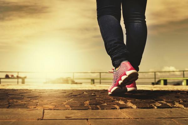 Person's feet, walking