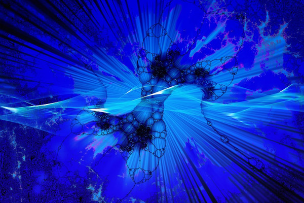 A stylised blue explosion.