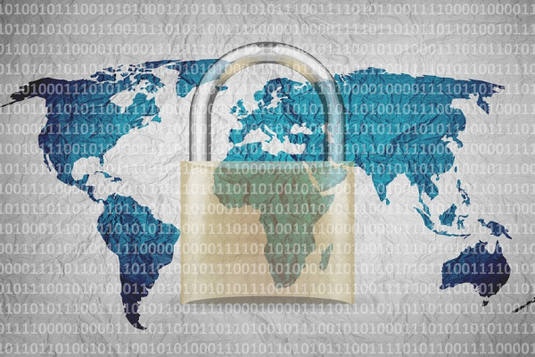 A padlock, superimposed over a map of the world, with binary code written across it.