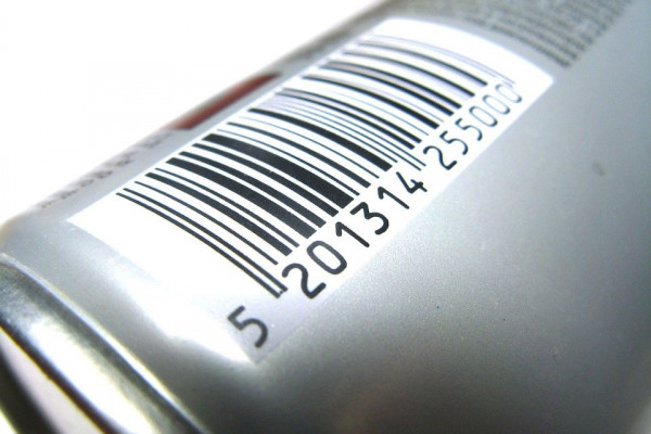an image of a barcode on the side of a can