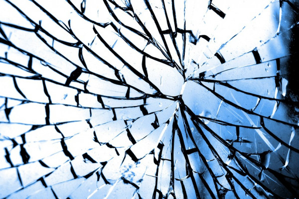 A fractured pane of glass