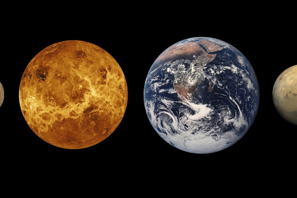 The four rocky planets, imaged side by side