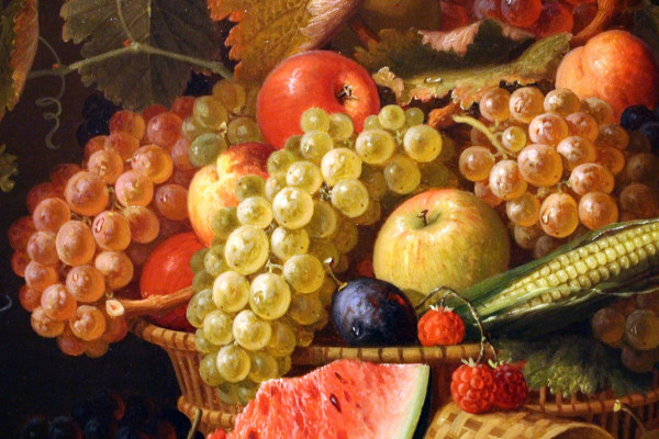 A still life oil painting of a basket overflowing with fruit.