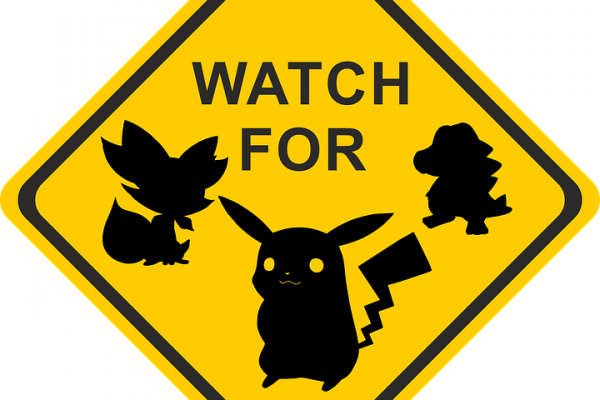 A sign displaying Pokemon characters.