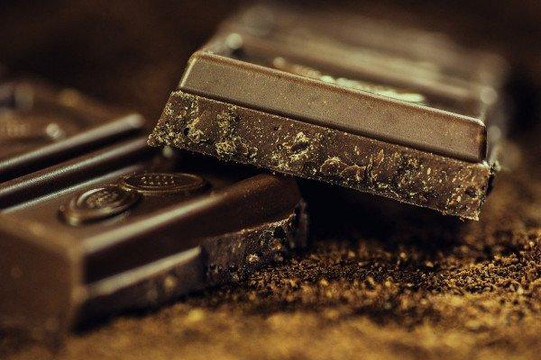 Close-up of a dark chocolate bar.