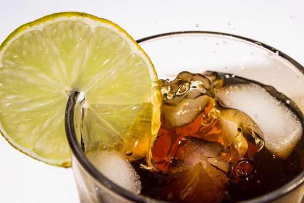 A glass of Coke and ice