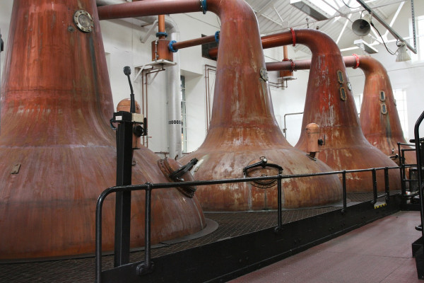 Whisky stills at a distillery