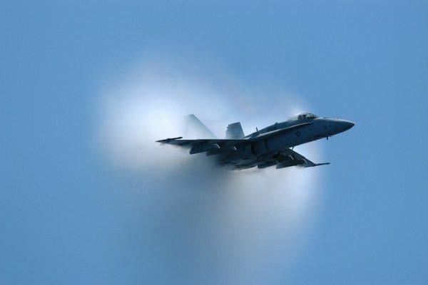 Plane creating a sonic boom