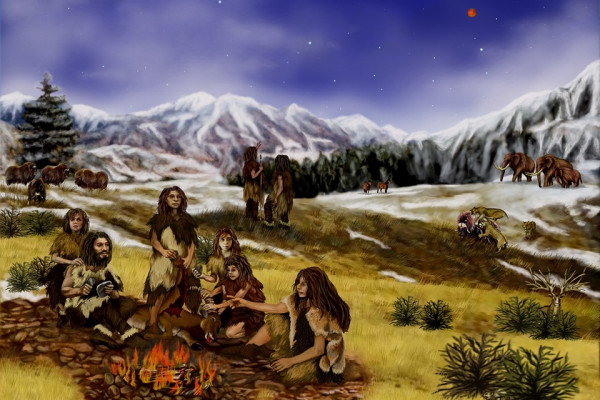 Snowy landscape with a group of early humans.