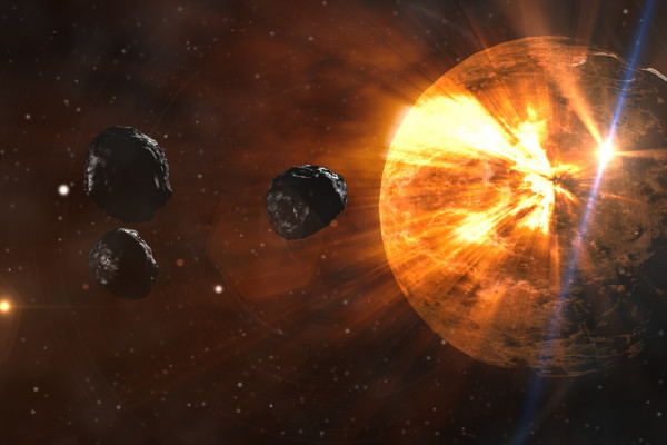 Illustration of asteroids travelling towards Earth