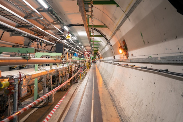 A view down one of the tunnels of the Large Hadron Collider.