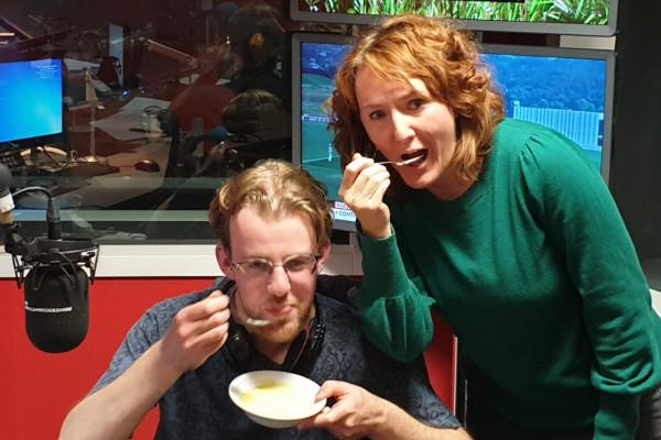 Ljiljana Fruk and Phil Sansom sampling a Croatian custard recipe