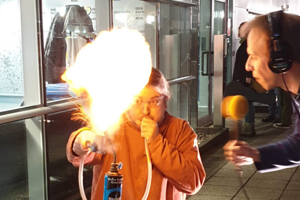 Burning custard fireball