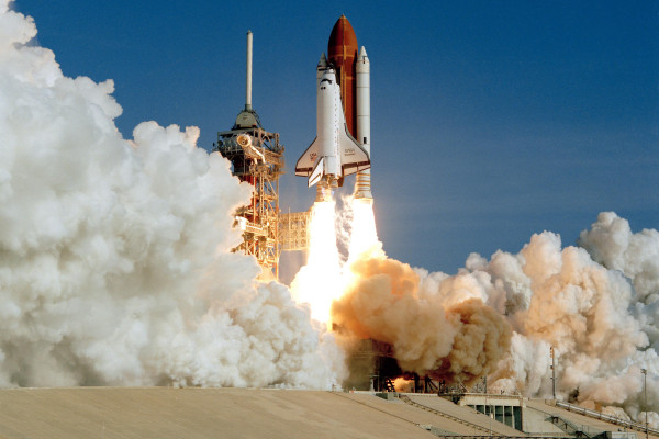 Space Shuttle Discovery on its maiden voyage.