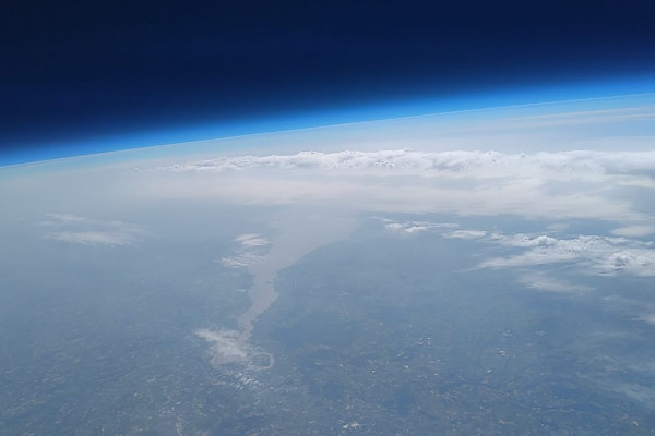 View over the Bristol Channel, England from The Naked Scientists Space Balloon
