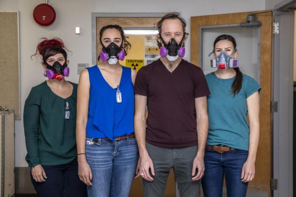 Berkeley Lab scientists Leticia Arnedo-Sanchez, Katherine Shield, Korey Carter, and Jennifer Wacker.