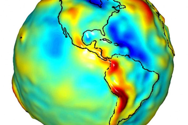 Data from NASA's Gravity Recovery and Climate Experiment (GRACE) and shows variations in the gravity field across the Americas.