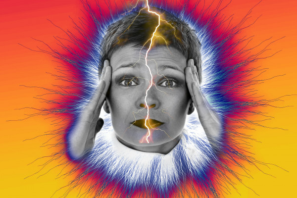 Graphic of a woman with a headache