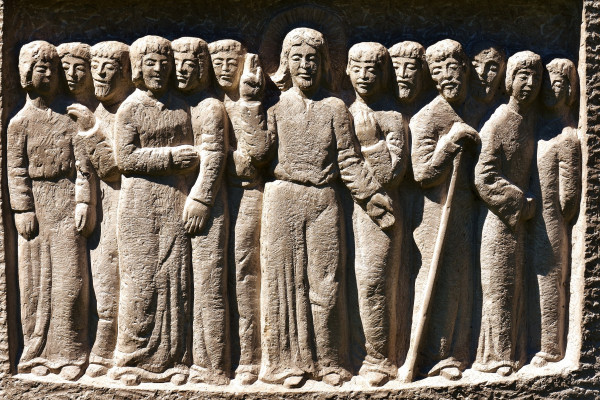 Stone carving depicting Jesus and the 12 apostles