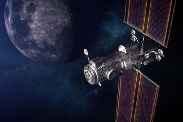 Artist's impression of the future of lunar exploration