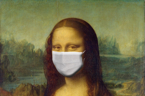 Mona Lisa wearing a surgical mask