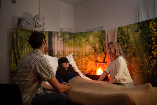 A treatment room in a psychedelic therapy trial.