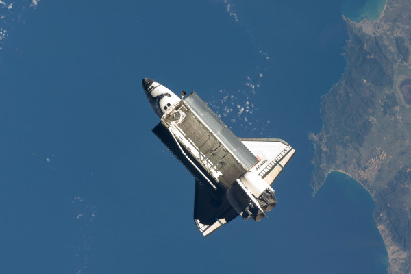 Aerial shot of Atlantis shuttle