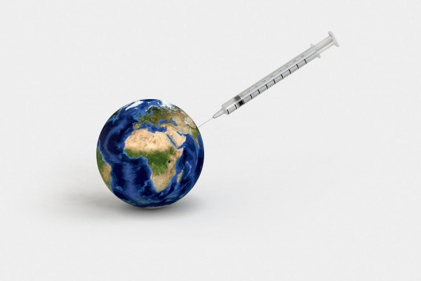 Planet Earth receiving an injection