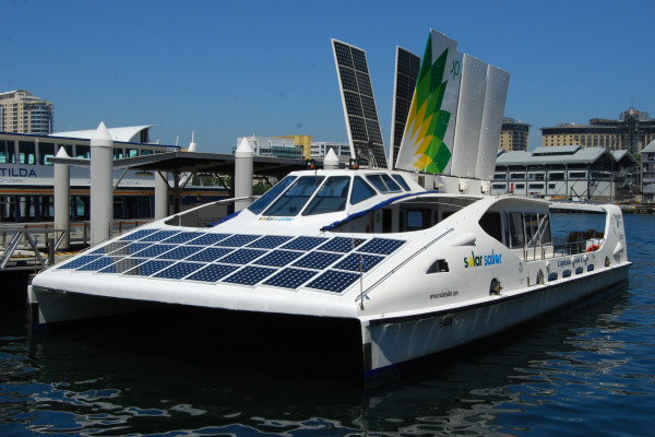 The Solar Sailor, in Sydney, uses photovoltaics and sails to use sun and wind to power the vessel