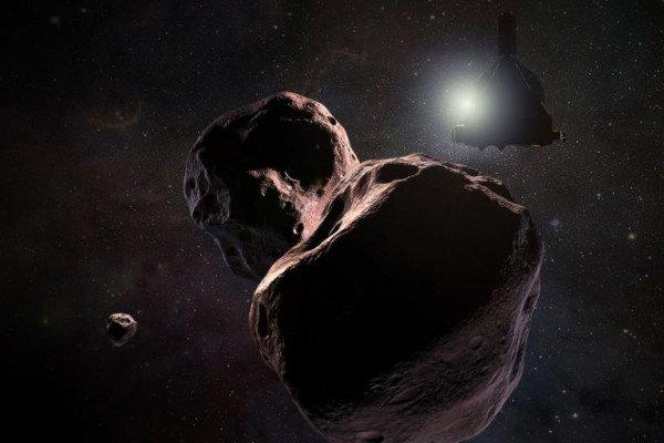 Artist's impression of NASA's New Horizons spacecraft encountering 2014 MU69, a Kuiper Belt object that orbits one billion miles (1.6 billion kilometers) beyond Pluto, on Jan. 1, 2019