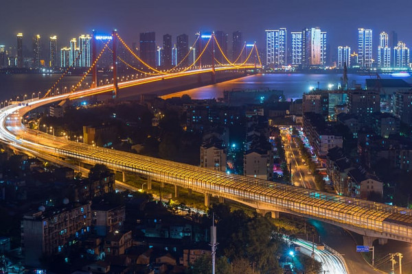 The Parrot Island Bridge over the Yangtze River in Wuhan City, China.