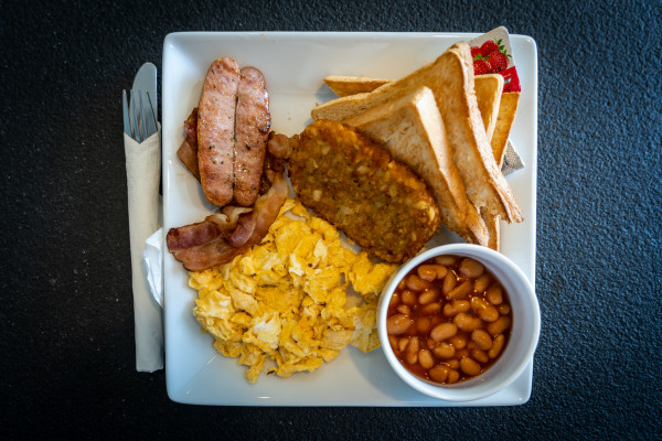 Enlish breakfast is full of saturated fats and often accompanied by sugary drinks or treats
