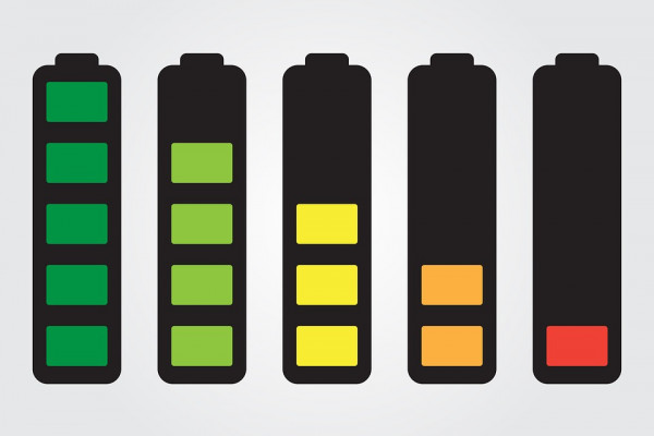 Graphic depiction of batteries with different levels of charge