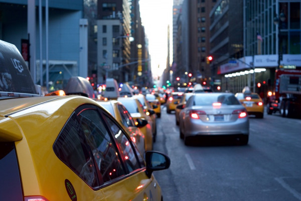Busy traffic-congested streets