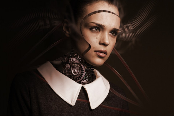 An image of a woman with cybernetic components beneath her skin