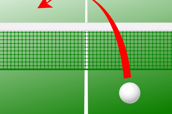 A ping pong ball and net schematic