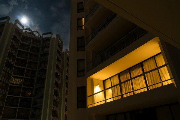 A lit window at night