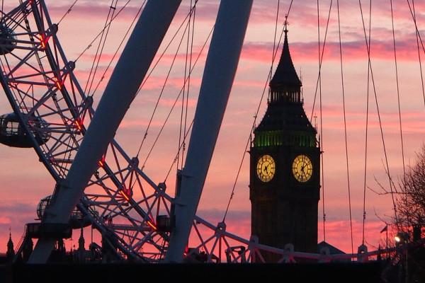 Big Ben behind the London Eye