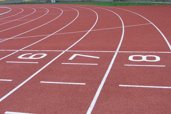 starting positions on an athletics running track