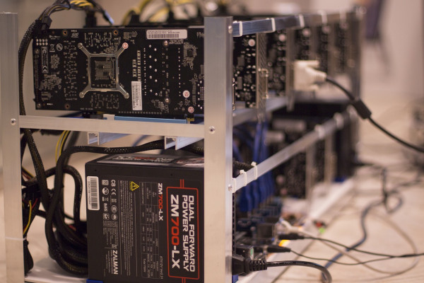 A bank of computer chips set up to mine cryptocurrencies.