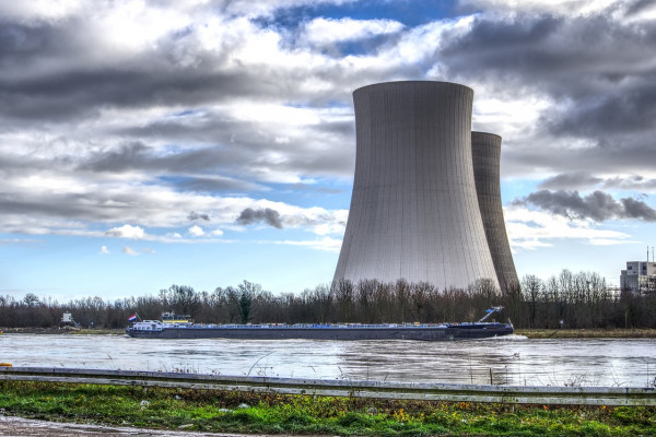 Two nuclear power cooling towers