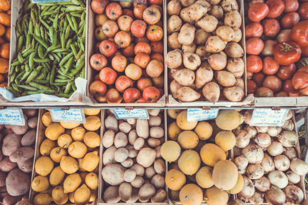 Fresh fruit and vegetables at a food market