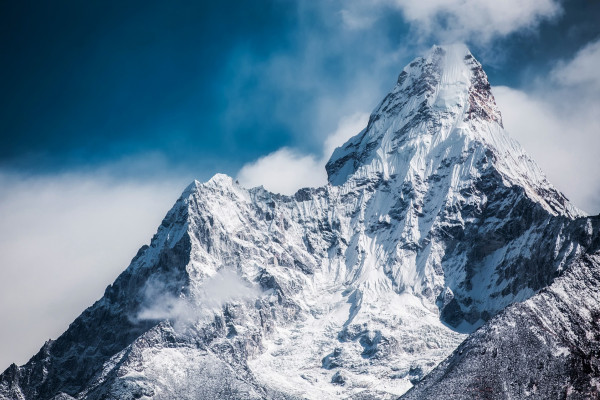 Pointed mountain covered in snow