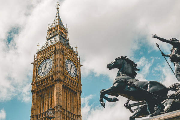 A view of Big Ben and the top of Elizabeth Tower, with Boadicea in the foreground.