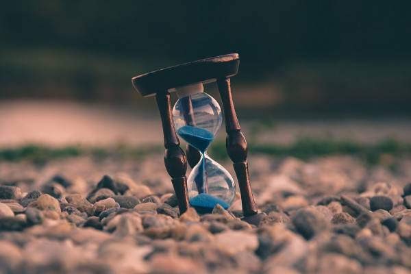 An egg timer showing time running out