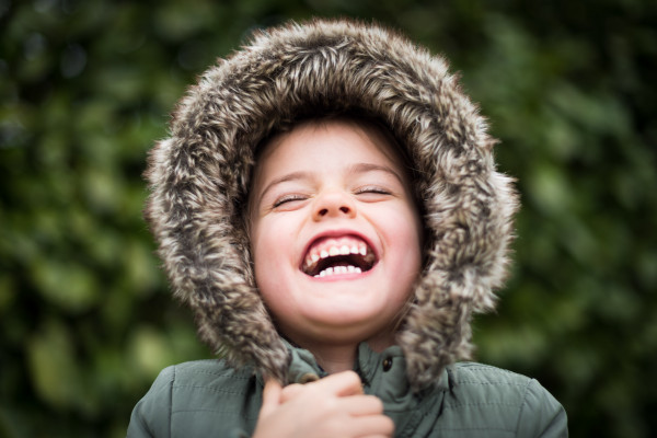 Child laughing heartily