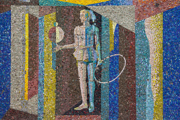 A mosaic with a female figure.
